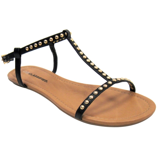Gold Studded Black Vegan Gladiator Sandals