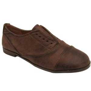 Brown Laceless Women's Vegan Oxfords